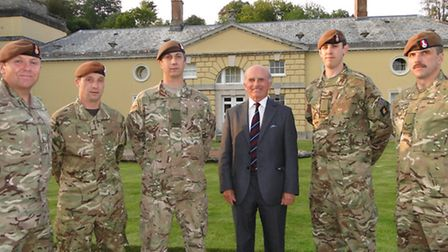 Picture at Castle Hill, Filleigh with Col Jeremy Smith-Bingham, who presented the medals, are Devon