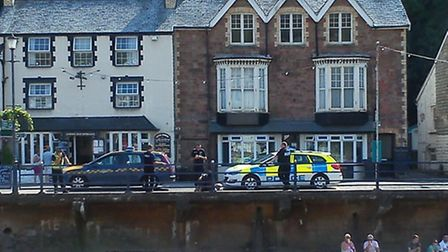 The police and coastguard crews at Combe Martin this afternoon (Mon). Pic: Luke Clements via @darkbu