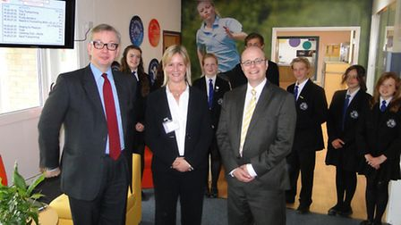 Michael Gove with Principle Louise Miller Marshall and Conservative parliamentary candidate for Nort