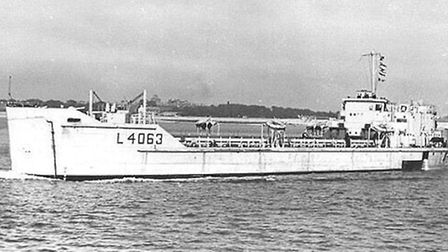 The ship Alan Pitcher served on while at Instow in 1949, when he met Anne.