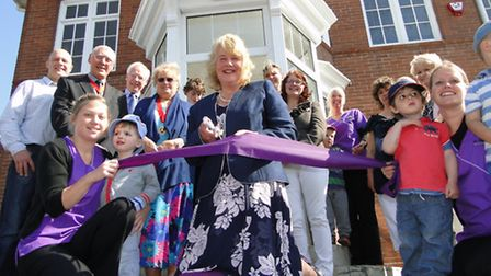 Author Victoria Eveleigh carries out the official opening of the new St Michael's Nursery premises a