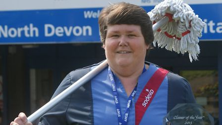 Cleaning superstar: North Devon District Hospital's Caroline Wait has been named UK Cleaner of the Y