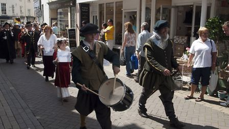 Sir Richard Grenville leading the procession down Milll Street at last year's Heritage Day. Pic: Dav