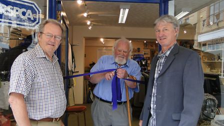 Rob McSmythurs, volunteer shop manager; actor Joss Ackland and North Devon chairman of the RSPCA, Ph
