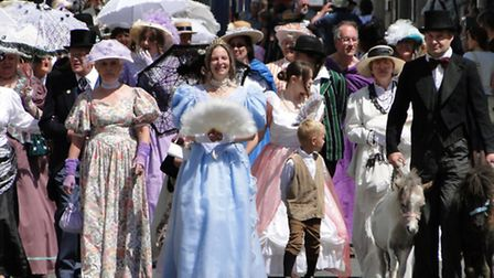 The Ilfracombe Victorian Celebration opening parade makes its way along the High Street.