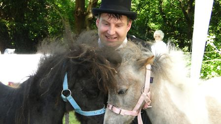 Mike Williams with his miniature horses, which proved a big hit at the fair.