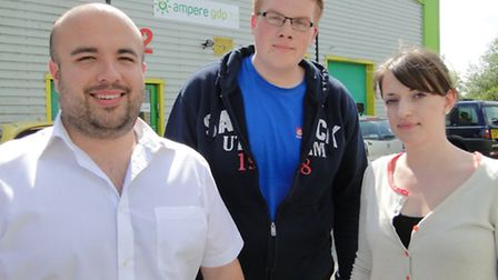 Brendan Ashford, Ben Webber and Karen Howson, the remaining staff at Ampere GDP on Pottington, which