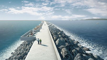 How the proposed Swansea 'tidal lagoon' breakwater could appear.