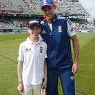 Jay Rothery with England opener Joe Root at Old Trafford