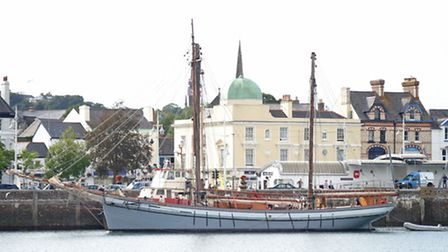 The Irene made an unscheduled stop in Bideford on Saturday evening. Pic: Brian Saunders.