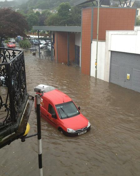 The flooding at Ilfracombe's Lidl store in Wilder Road. Pic: Becky Roberts.