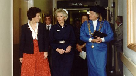 Edwina Currie, who officially opened the hospital in 1988, tours the building with sister-in-charge