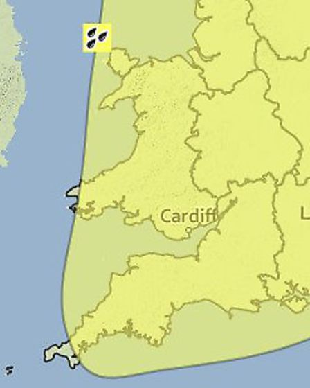 The Met Office has issued a yellow warning of rain for tomorrow (Tues) and Wednesday.