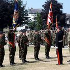 Army cadets are presented with their new banners.