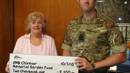 Councillor Jasmine Chesters presented a cheque for £2,100 to Lt. Al Martin for the Chivenor Memorial