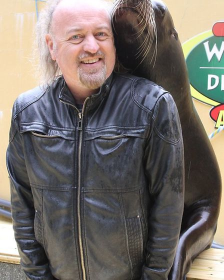 Close encounters of the flipper kind: Funnyman Bill Bailey with one of the park sea lions.