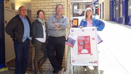 Organisers Keith Rickwood, Sara Parkin, Rob Garrett and Wendy Butler wait to welcome people to the l