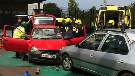 Emergency services demonstrated cutting a 'casualty' from a collision in front of Bideford College s