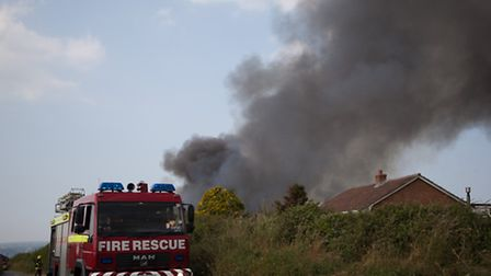 Firefighters are currently tackling a barn fire on the back roads near Instow. Pic by Andy Casey
