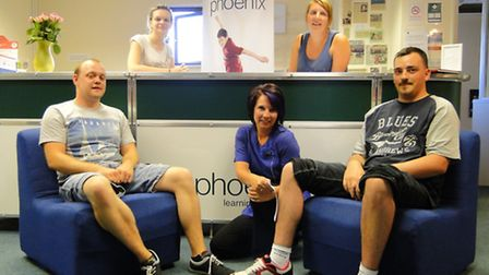 Hair-raising: From left to right: (Back) Phoenix Learning & Care's Sarah Jury and Lucy Squire. (Fron