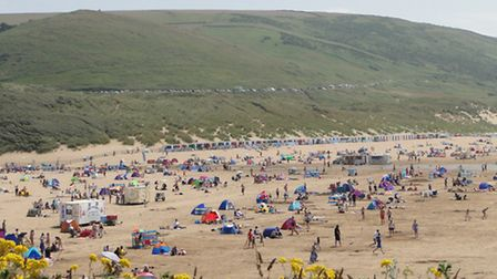 Visitors packed onto Woolacombe Beach yesterday afternoon (Tues).