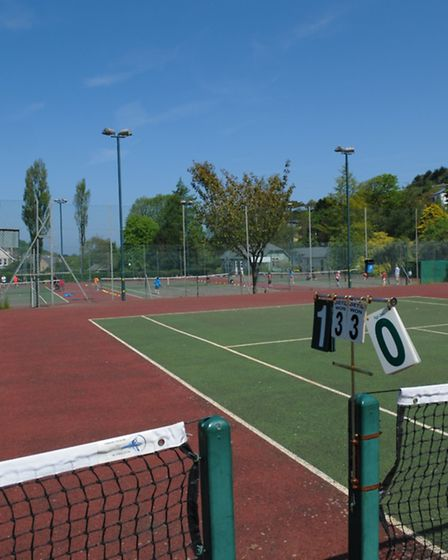 The tennis court at Bicclescombe Park in Ilfracombe.