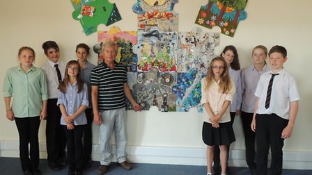 Cllr Rodney Cann with students from The Park Community School, who took part in the art project