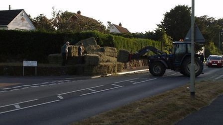 The moment dozens of hay bales escaped on Bickington Road, Barnstaple. Pic: Rodney Cann.