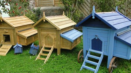 The chicken coops created by Jim Knock.