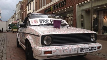 Thousands of people have signed this car in return for a donation to Jenson's fundraising appeal.