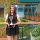 Dolton's Sunny Parker at Wimbledon with her Inter-services Ladies' trophy
