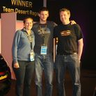 Barnstaple couple Mark Fairchild and Olivia Bier are pictured with Continental Tyres spokesperson Pe