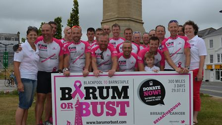 The Barum or Bust team at the finish line.