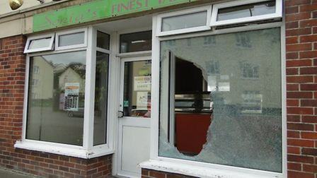 Burglars smashed the front window of Sonias Takeaway in Forches Avenue, Barnstaple, in the early hou