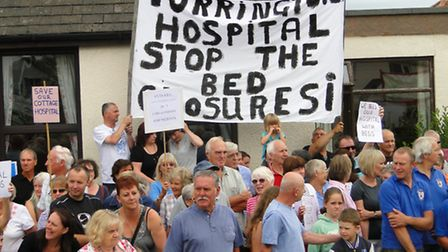 Residents protesting against the planned bed closures last month.