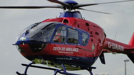 The new Devon Air Ambulance helicopter, which will be based at Eaglescott, coming into land at Braun
