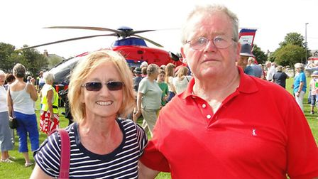 Devon Air Ambulance charity founder Ann Thomas and Colin Thorne from Braunton, whose life was saved