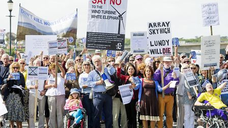Protesters gather in Barnstaple against the Atlantic Array. Picture: Guy Harrop.