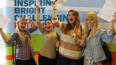 Happy Petroc A level students Jasmine Moran, Ellie Paxton, Sian O'Neill and Mollie Foster after coll