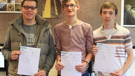Ilfracombe Academy students Sam Pugsley, Jamie Crawford and Jack Shone with their results.