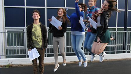 Bideford College students leap for joy after a successful A level results day.