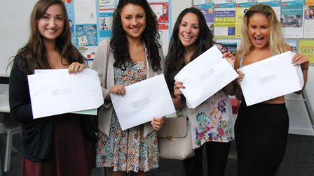 Bideford College students with their A level results.