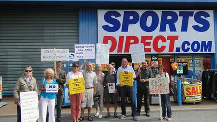 Green party and Labour supporters rallied outside Sports Direct in Barnstaple this morning (Thurs).
