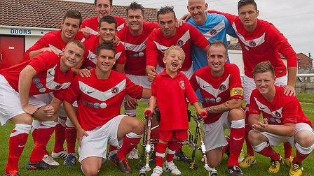 Five-year-old George finally got to be Barnstaple Town's mascot on Saturday