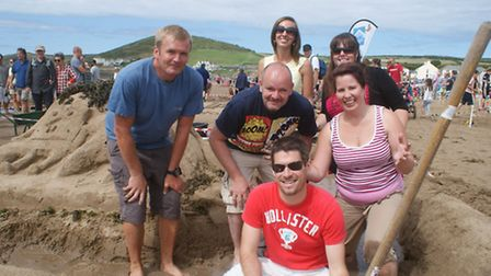 Teams battle it out on the beach at this year's National Sandcastle Competition, held at Croyde on S