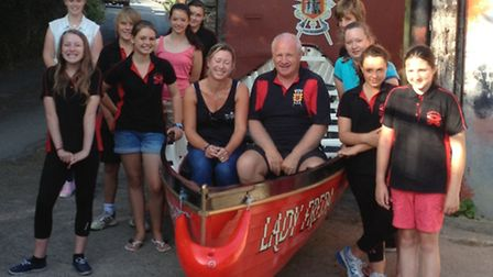 The Barum Blades of Barnstaple Pilot Gig Club in their new kit, purchased following a grant from the