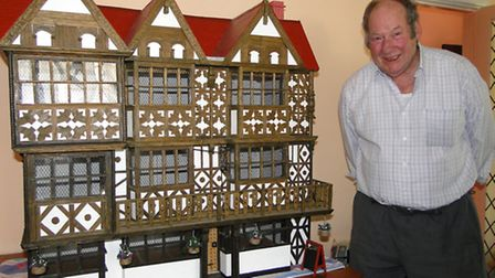 Jack Linder from Combe Martin with his scale model of The Feathers Hotel.