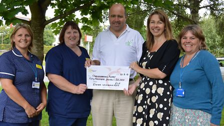 Dale Edwards (CEO of Exeter Leukaemia Fund) presents a cheque for 50,000 to Charlotte Overney (lead