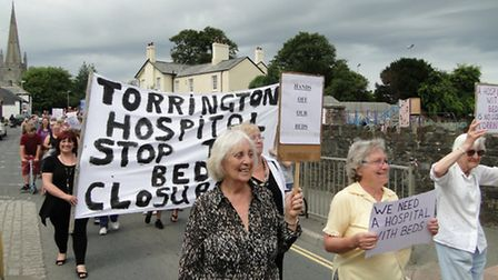 Protesters at the rally organised to oppose the bed closures last month.