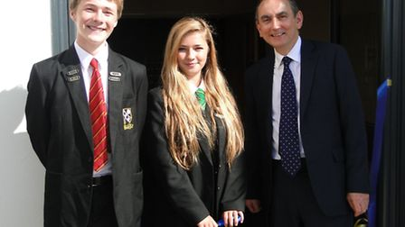 Chulmleigh head boy Silas Welsh and head girl Alex Ward open the new classrooms with Education Fundi